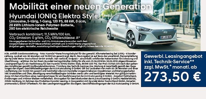 Hyundai Ionic Electro Style_gewerbliches Leasing